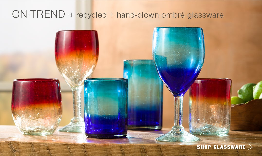 On Trend + recycled + hand-blown ombre glassware; Shop Glassware
