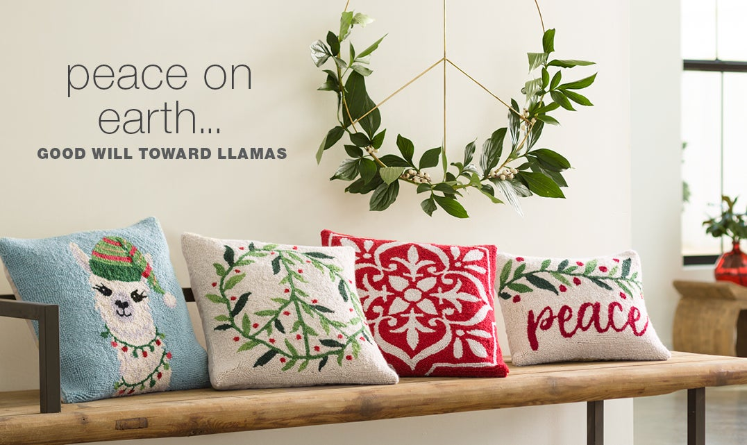 Peace on earth. Good will toward llamas; Shop Holiday Decorating