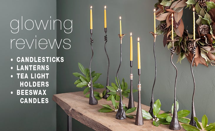 glowing reviews: CANDLESTICKS, LANTERNS, TEALIGHT HOLDERS, BEESWAX CANDLES
