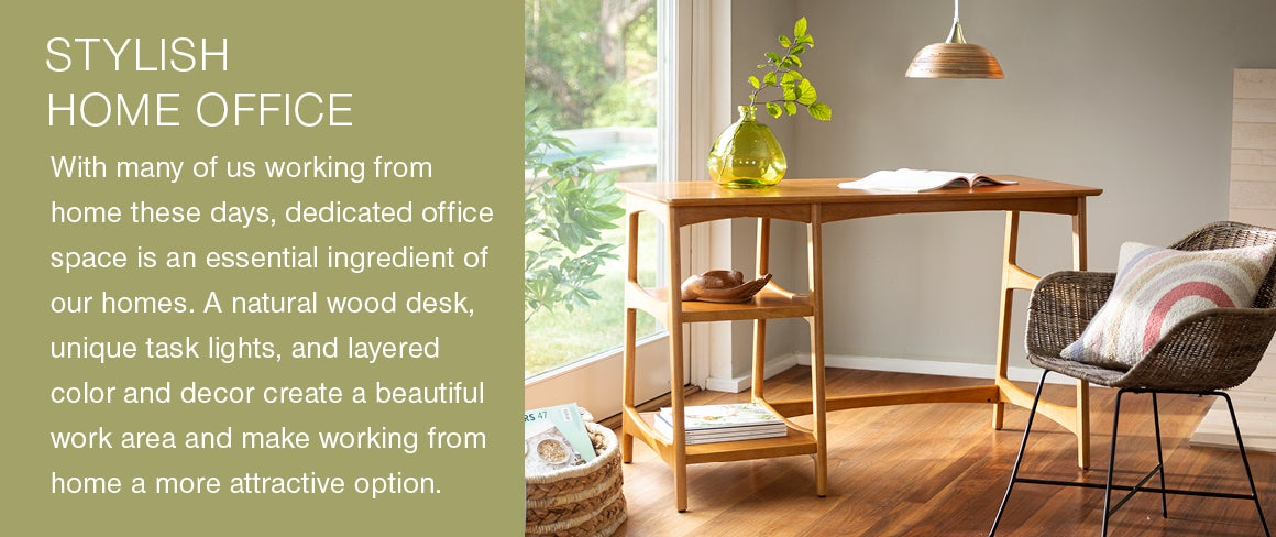 A Stylish Home Office - With many of us working from home these days, dedicated office space is an essential ingredient of our homes. A natural wood desk, unique task lights, and layered color and decor create a beautiful work area and make working from home a more attractive option.