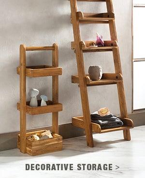 Five-Tier Teakwood Ladder Bookshelf  - Shop Decorative Storage