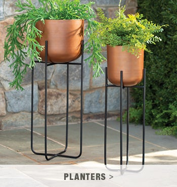 Copper Finish Planters On Stand, Set Of 2 - shop planters and pots