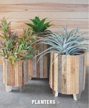 Natural Recycled Wood Round Planters, set of 3 - Shop Planters