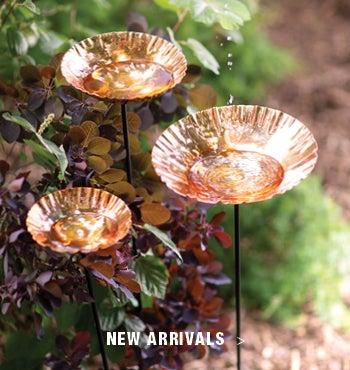 Image of Copper Bird Bath Garden Stakes - Shop New Arrivals