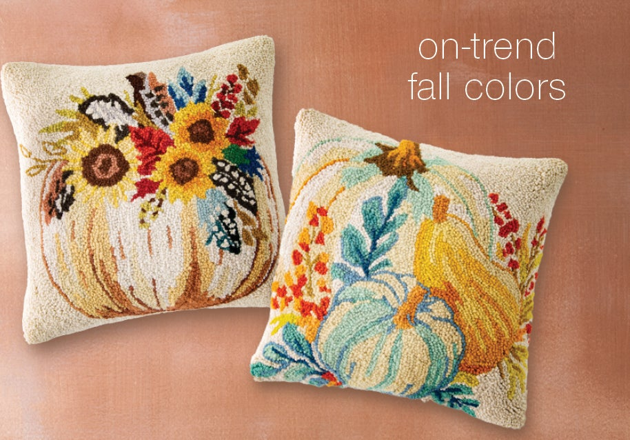 Image of Pumpkin Gourds Wool Throw Pillow and Pumpkin and Feathers Wool Throw Pillows - on-trend fall colors.