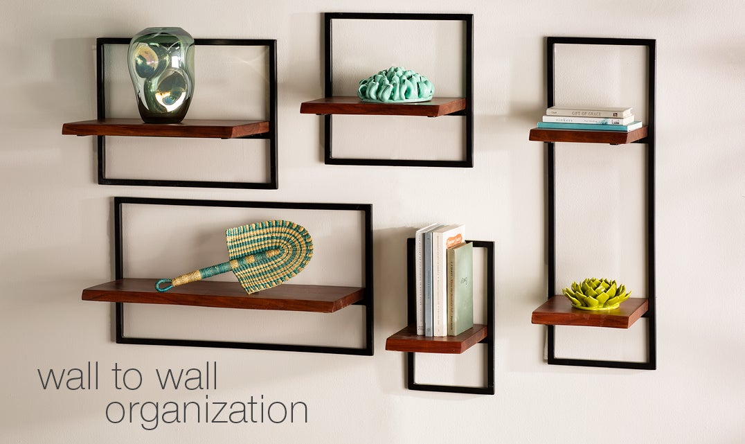 image of Live-Edge Wood and Metal Frame Wall Shelves, Set of 5
