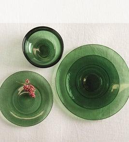 Image of green glass dinnerware