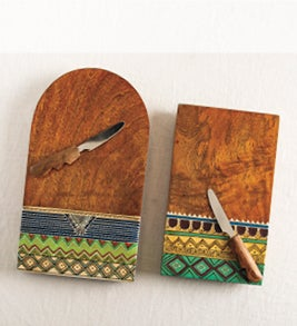 Image of hand-carved artisan wooden serving boards
