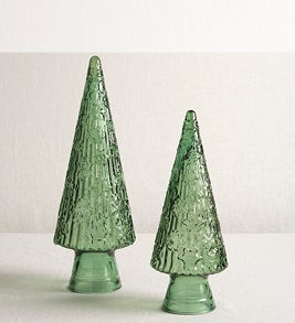 Image of green glass tabletop tree accents