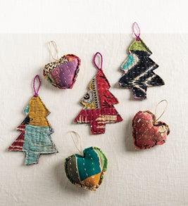 Image of handmade kantha-stitched ornaments