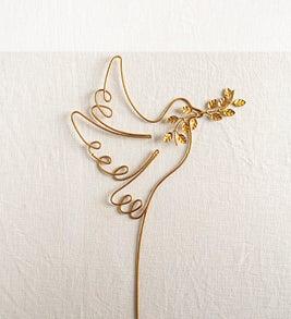 Image of a gold peace dove garden stake