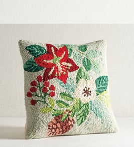 Image of hand-hooked pillow with holiday floral pattern
