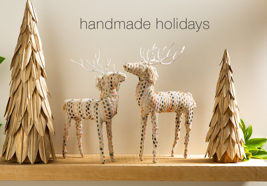 Image of Natural Leaf Holiday Trees and Kantha Stitch Deer.  handmade holidays.