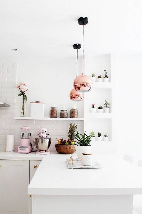 Pink Copper Kitchen Accents