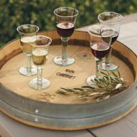 reclaimed wine barrel serving tray