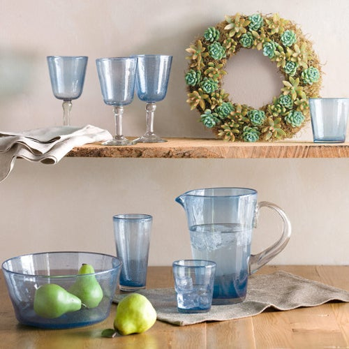 bright bubbled turquoise recycled glass drinkware collection