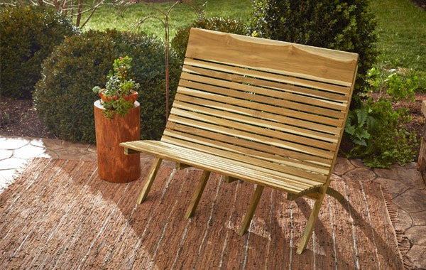 wooden slotted bench
