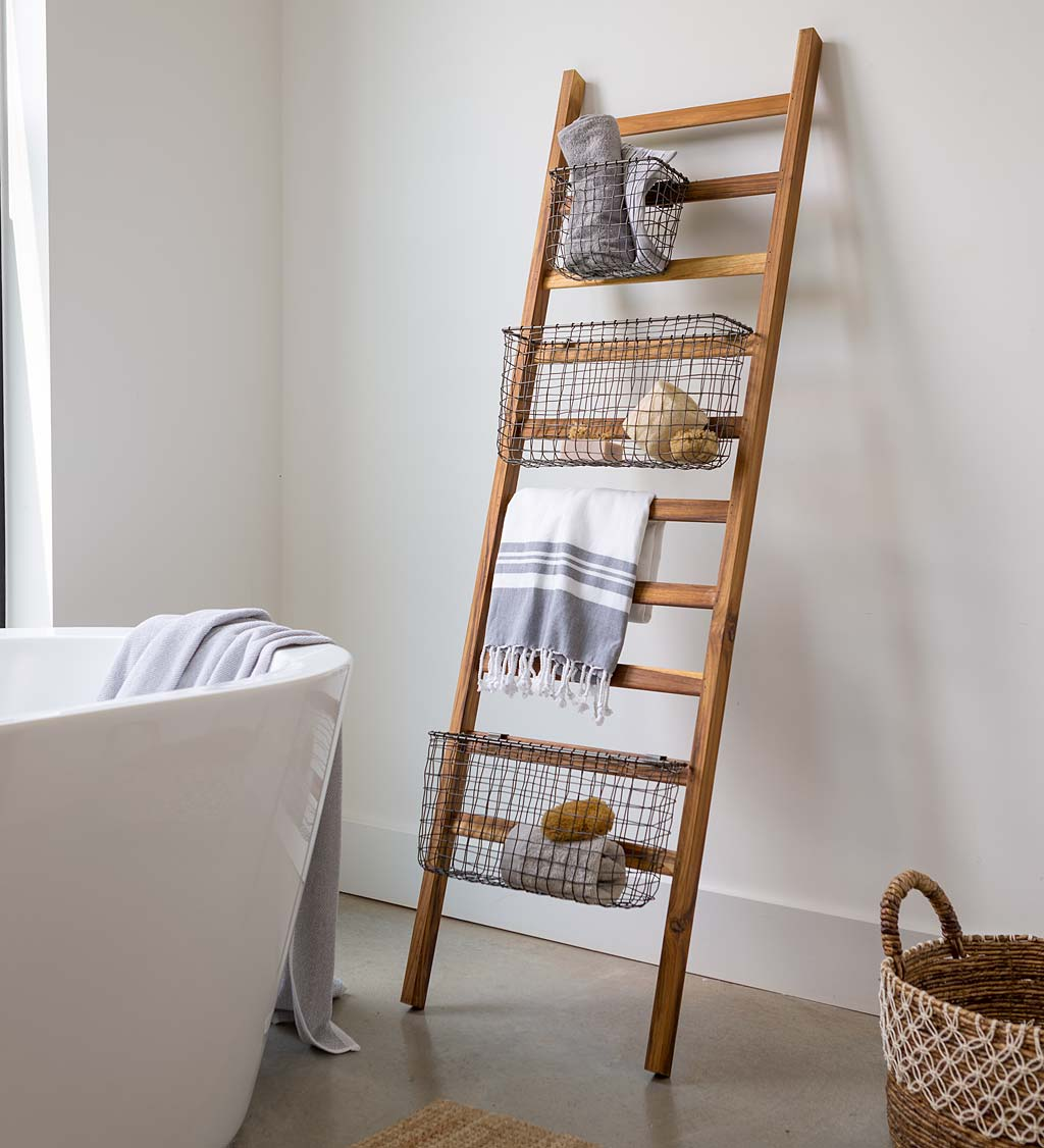 Teak Wall Ladder with Wire Baskets in Bathroom