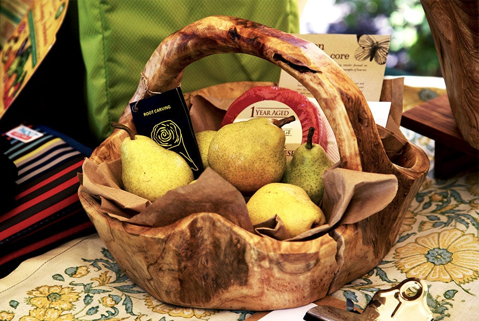 root bowl basket with fruit